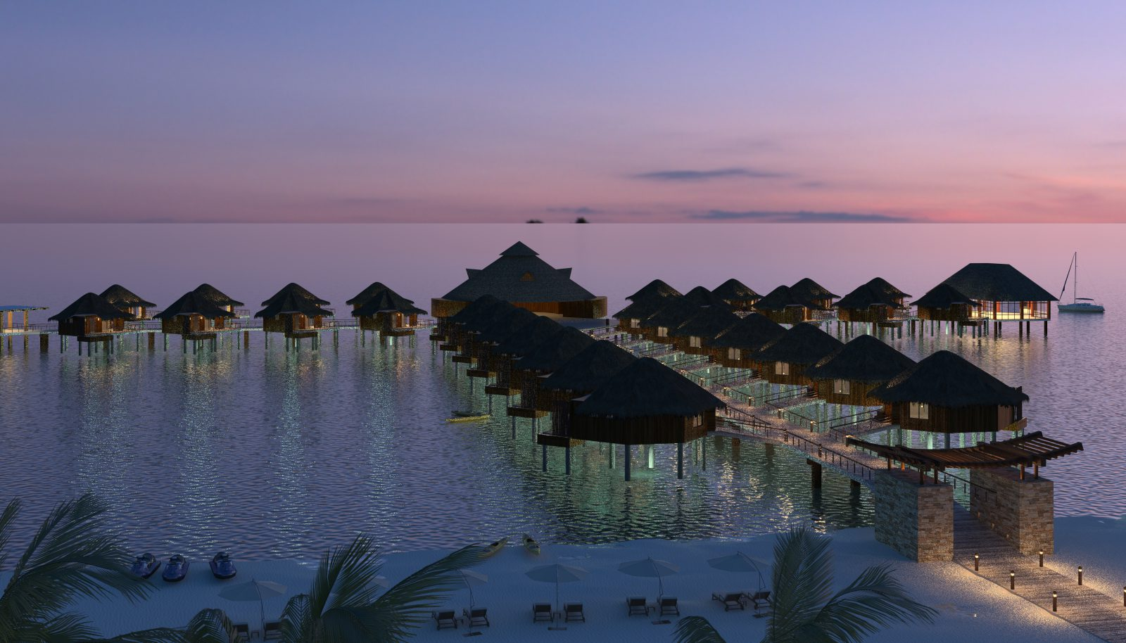 Hoteles deslumbrantes bungalows sobre el agua hacen su for Hoteles maldivas sobre el agua